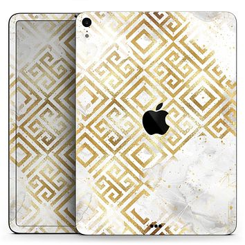 """Karamfila Watercolor & Gold V11 - Full Body Skin Decal for the Apple iPad Pro 12.9"""", 11"""", 10.5"""", 9.7"""", Air or Mini (All Models Available)"""
