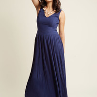 Drop Waist Pleated Maxi Dress in Midnight