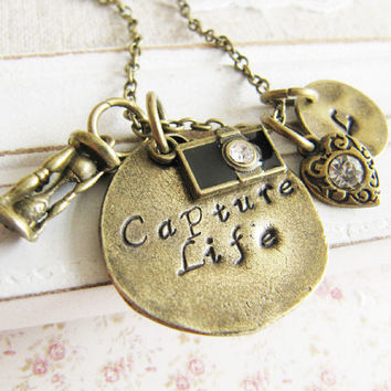 Personalized initial camera necklace, Capture Life capture moment, photographer, monogram, hand stamped, custom necklace
