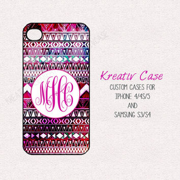 Monogrammed iPhone 4s Case, Aztec Samsung S4 case, PURPLE, Custom Phone Cover for iPhone 4/4s/5 and Samsung Galaxy s3/s4 K021