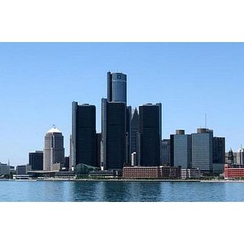 Detroit Skyline poster Metal Sign Wall Art 8in x 12in