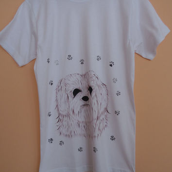 Hand Painted T Shirts,Hand drawn Dog Tshirt,Lovely Puppy T shirts ,Creative Design,Terrier Portrait,Paws,Animal Paw
