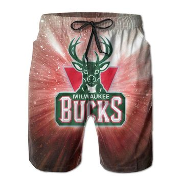 Milwaukee Bucks Colorful Logo Basketball Mens Fashion Casual Beach Shorts