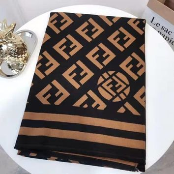 Fendi tide brand female double F letter knit long shawl scarf