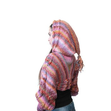 Hooded Motley Shrug, Shrug with Hood Hand Knit by Solandia Cropped Sweater Knitted Hoodie Sweatshirt - MADE TO ORDER ITEM