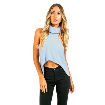 Simple Style Turtleneck Solid Color Asymmetrical Crop Blouse for Women