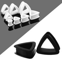 ac PEAPO2Q 2PCS Silicone Ear Plugs Soft Triangle Thin Silicone Flexible Plug Tunnels Hollow Ear stretchers Expander Earrings Body Jewelry