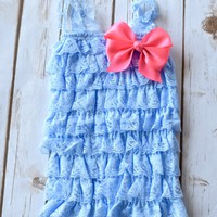 Your Final Touch - Lace romper in light blue with your choice of 4 inch satin bow 39 colors