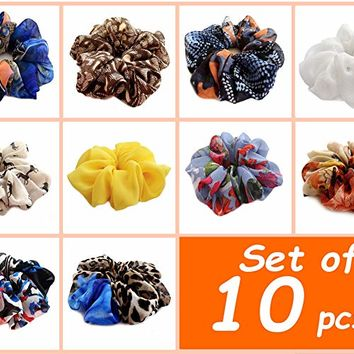 Set of 10 Medium Size Soft Chiffon Hair Scrunchie Assorted Colors Stylish Hair Elastic Wrap Stylish Accessories Headband Ponytail Holder Teen Girls Women