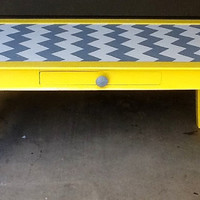 Yellow, Grey and White Chevron Coffee Table with Storage