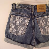 High Waisted Lace Denim Shorts