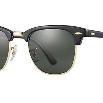 LMFDC0 Ray Ban RB3016 Clubmaster Sunglasses (49 mm, Solid Black G15 Lens)