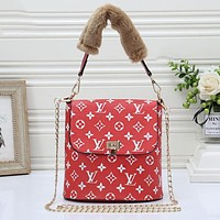 LV Louis Vuitton Retro Women Shopping Bag Leather Crossbody Satchel Shoulder Bag Red