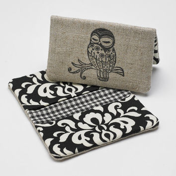 Credit Card Holder, Fabric Bifold Wallet, Business Card Case in Black and Cream Damask
