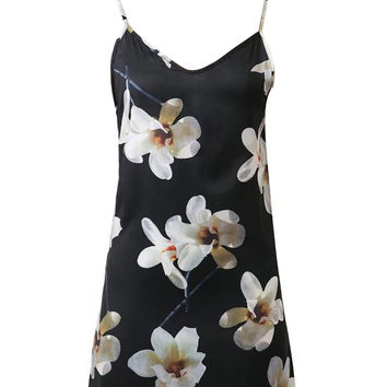Black V-neck Floral Choker Neck Cami Dress