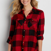 button down shirt in red and black buffalo plaid | maurices