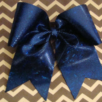 Blue Shattered Glass Cheer  Bow by isparklethat on Etsy