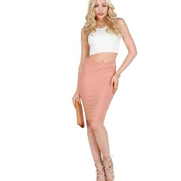 Mauve Pencil Perfect High Waisted Skirt