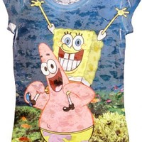 Spongebob SquarePants Underwater Bob With Patrick Heathered Blue Sublimation Burnout Juniors T-shirt - SpongeBob SquarePants - | TV Store Online
