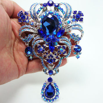 Flower Pendant Brooch Pin Blue Rhinestone Crystal