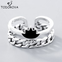 Todorova 925 Sterling Silver Rings for Women Vintage Black Crown Adjustable Toe Ring Simple Beach Foot Jewelry Fashion Ringen