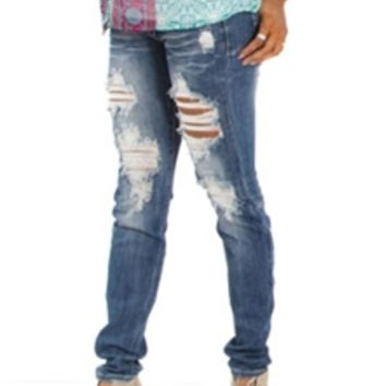 Machine Jeans Destructed Skinny in Medium Wash DMP-6773-M