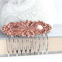 Floral Hair Comb Copper Rose Gold Filigree Lace Design Vintage Style Blush Wedding Hair Piece Pink Copper Bridal Hairpiece Silver Comb