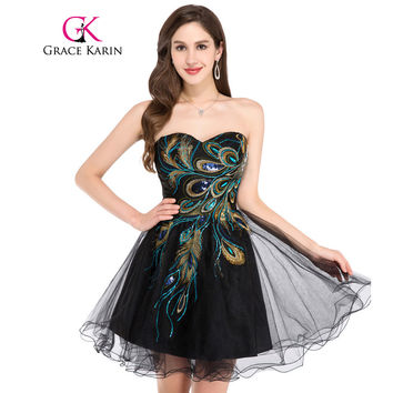 Grace Karin Short Prom Dress 2017 Sexy Black White Peacock Prom Gowns Tulle Robe De Cocktail Special Occasion Dress Ball Gown