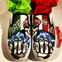 Custom Hand Painted Pierce the Veil Slip ons by InsidiousApparel