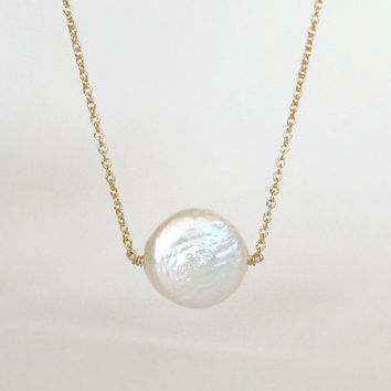 Dainty Freshwater Coin Pearl Necklace On Gold Or Silver Chain / Single Pearl Necklace/ Simple Dainty Gold Necklace