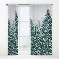 snowy pine forest in green Window Curtains by Color and Color