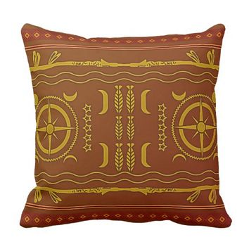 Golden Brown African Symbols Throw Pillow