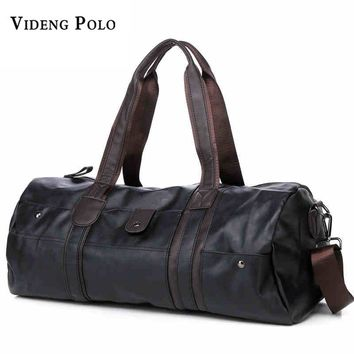 VIDENG POLO Vintage Retro Leather Men Travel Bags hand luggage Overnight Bag Large Duffle Travel Bags Women Weekend bolsa viagem