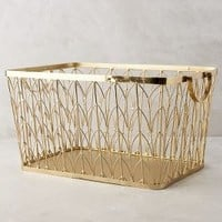 Sundridge Basket by Anthropologie in Gold Size: One Size Office