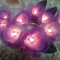 20 Purple Rose Flower Fairy String Lights Wedding Party Floral Home Deco