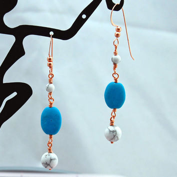 Turquoise & White Buffalo Stone Tailored Elegance Earrings