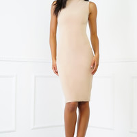 Ella Bodycon Midi Dress - Nude