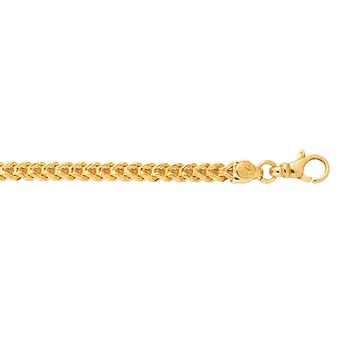 14K Yellow Gold 3.9mm Diamond Cut Square Franco Chain with Lobster Clasp