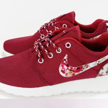 """NIKE"" Trending Fashion Casual Sports Shoes Red  Floral"
