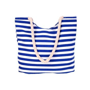 Blue Stripes Waterproof PVC Lining Shoulder Bucket Bags