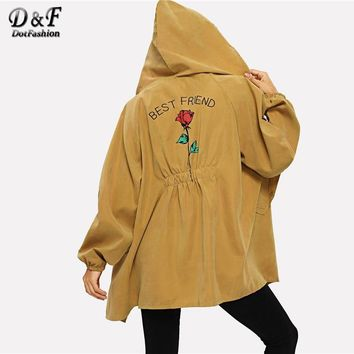 Dotfashion Ginger Floral Letter Print Raglan Sleeve Jacket Women Coats And Jackets Casual Clothes Clothing Outerwear