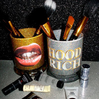 2PC set Swag Gold Teeth Hood Rich Makeup Brush Holders - YOU CUSTOMIZE!