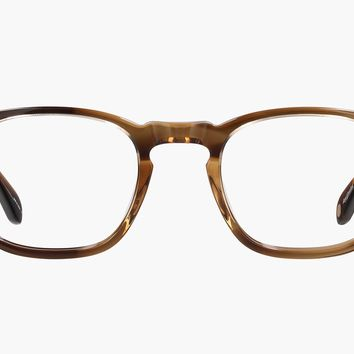 Garrett Leight Thornton 46mm Khaki Tortoise Eyeglasses / Demo Lenses