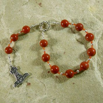 Thor Pocket Prayer Beads in Red Jasper: Norse God of Thunder, Protector of Humanity