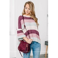 Oversized Color Block Chenille Knit Sweater