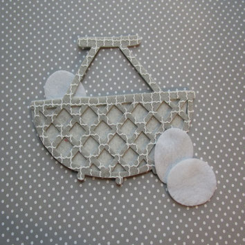 Gray felt wicker style basket with eggs, felt cut out, die cut out, scrapbooking and embellishment, supply, Spring, Easter decoration