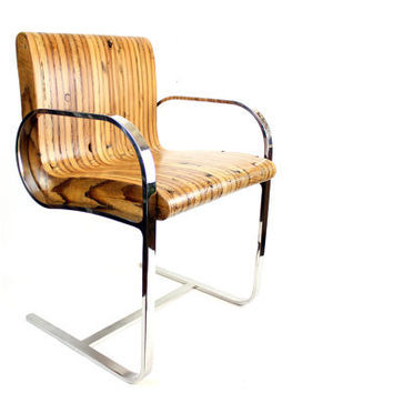 Reclaimed Wood Club Chair // Mid-Century Chrome Chair // Repurposed Vintage Seating // Industrial Chic