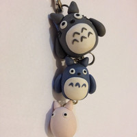 Handmade Fimo Polymer Clay Kawaii Totoro Charm Pendant Phone Accessory Bracelet Necklace