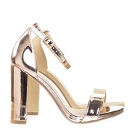 ShinerD Rose Gold By Delicious, Chunky Block High Heel Sandal w Ankle Strap & Low Platform