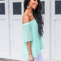 Bella and Bloom Boutique - Stay Forever Pleated Off the Shoulder Top: Neon Orange